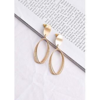 Layered Geometric Oval Drop Earrings Gold