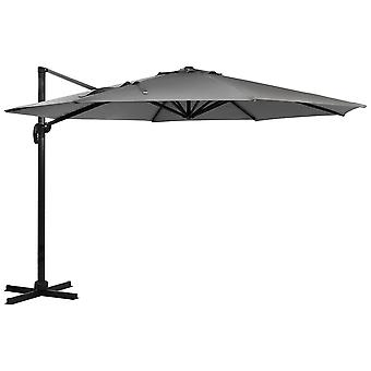 Charles Bentley Hanging Banana Umbrella Parasol-Leichtgewichtiger Aluminiumrahmen in Light Grey-3.5M XL