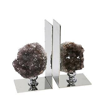 Elegantly charmed metal amethyst bookends, purple, set of 2