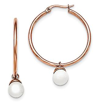 Rostfritt stål polerad Rose Ip pläterad vit färgad Jade Hoop Örhängen Smycken Gåvor för kvinnor