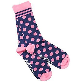 Swole Panda polka dot bambus sokker-Navy/pink