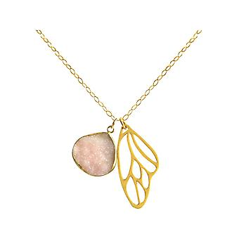 Gemshine Necklace Pendant Butterfly Wings Silver DRUZY Rose
