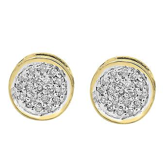 Dazzlingrock Collection 0.10 Carat (Ctw) 10K Round White Diamond Womens Circle Cluster Stud Earrings 1/10 CT, Yellow Gold