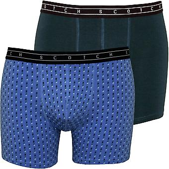Scotch & Soda 2-Pack Geometric Print And Solid Boxer Briefs Gift Set, Blue/Green