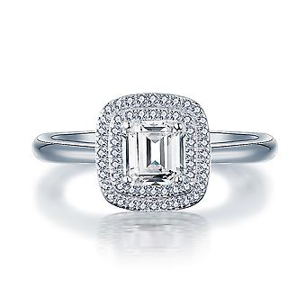 925 Sterling Silver Asscher Halo Engagement Ring