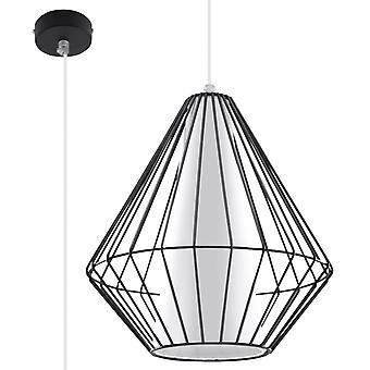 Sollux DEMI 1 Light Caged Ceiling Pendant Black, White SL.0298
