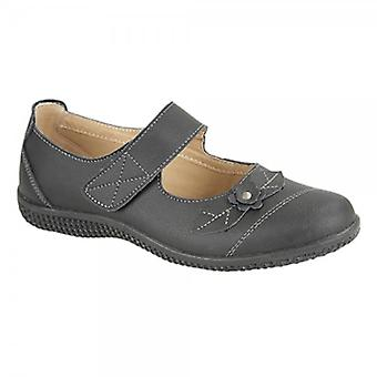 Boulevard Diana Ladies Leather Touch Fasten Eee Wide Mary Jane Shoes Black