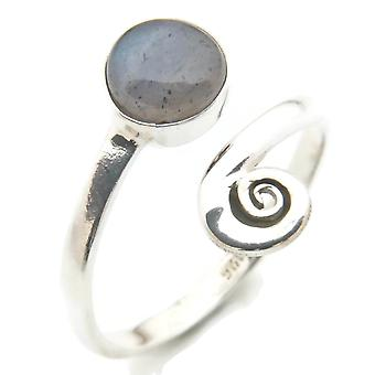 Labradorite Ring 925 Silver Sterling Silver Silver Women's Ring Adjustable (IRM 102-05)