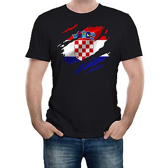 Reality glitch torn croatia flag mens t-shirt
