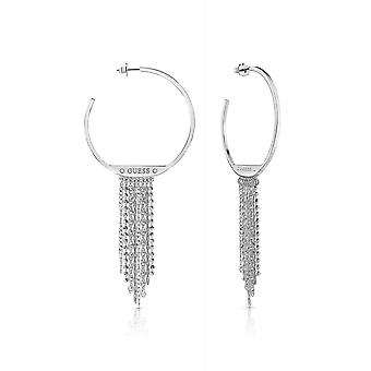 Guess Jewellery Guess Rhodium Plated Circle Waterfall Hoop Earrings UBE85052