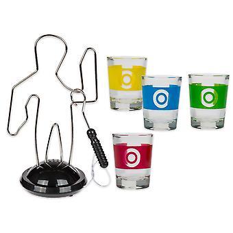 Pitná hra horká drátěná hra, včetně postavy a 4 skleniček, ze skla, z akumulátoru.