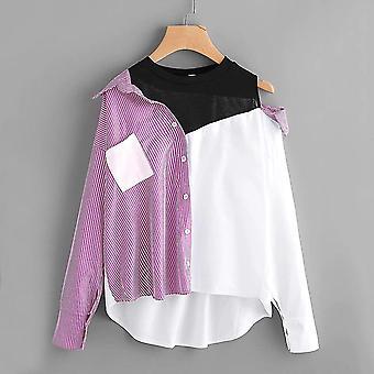 Plus 2 in 1 spliced stripe asymmetrical blouse