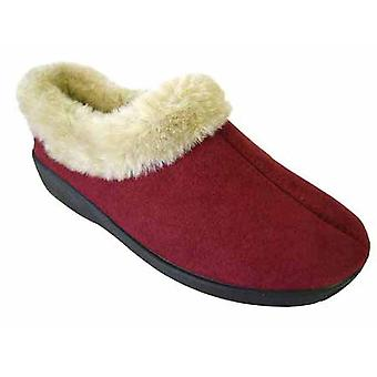 Coolers Womens Microsuede Faux Fur Lined Mule Slippers