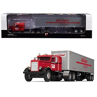 Peterbilt 351 36 Sleeper Cab avec 40 apos; Vintage Trailer West Coast Fast Freight Red and Gray 24th in a Fallen Flags Series 1/64 Diecast Model by First Gear