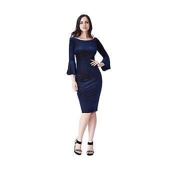 Goddiva Glitter Velvet Bell Sleeve Midi Dress