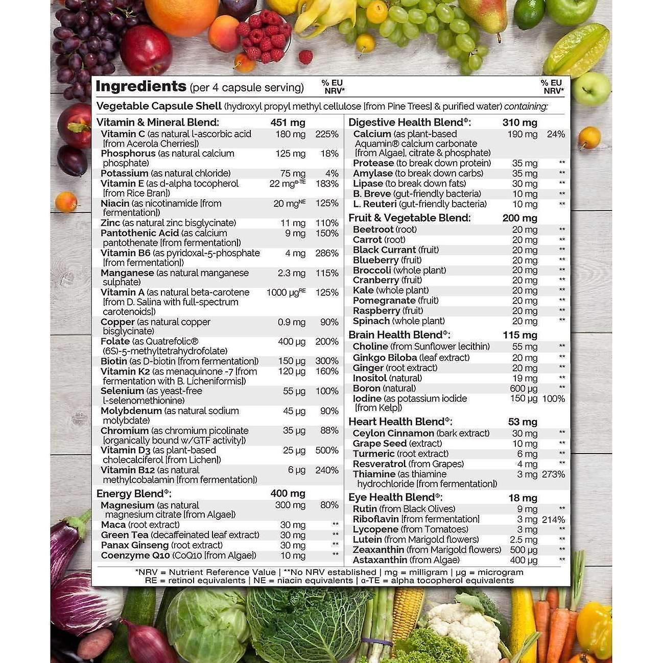 Whole food multivitamin for men with natural vitamins, fruit & herbal health blends