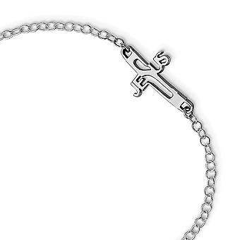 925 Sterling Silver Rhodium plated Jesus Religious Faith Cross Anklet 9.5 Inch Jewelry Gifts for Women
