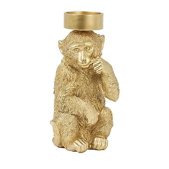Light & Living Candle Holder 16.5x15x32cm - Monkey Gold