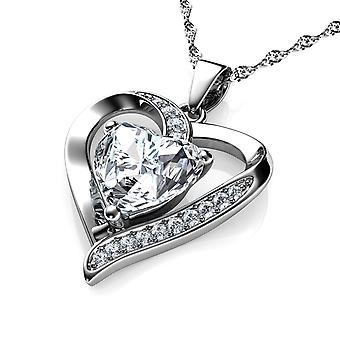 Dephini cz heart necklace 925 sterling silver heart pendant cz crystal
