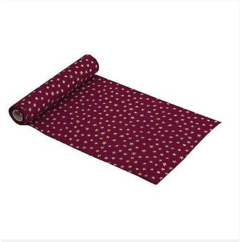 Red Table Runner with Gold Stars Christmas Table 3M