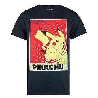 Pokemon Pikachu Propaganda Poster Miesten's Lyhythihainen T-paita musta