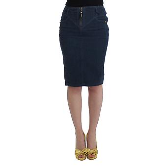 Cavalli Blue Corduroy Pencil Skirt