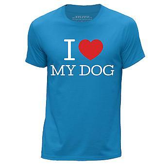 STUFF4 Men's Round Neck T-Shirt/I Heart My Dog / Puppy Love/Blue