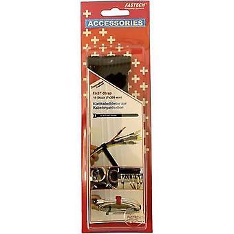 FASTECH® 801-330C Koukku- ja silmukkakaapelisolmio koukku- ja silmukkatyynyn (L x W) 200 mm x 7 mm Musta 10 kpl