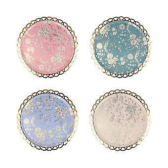 Meri Meri Floral Anglais Garden Lace Side Paper Party Plaques x 8