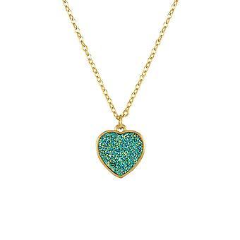 Eternal Collection True Love Teal Druzy Effect Gold Tone Heart Pendant