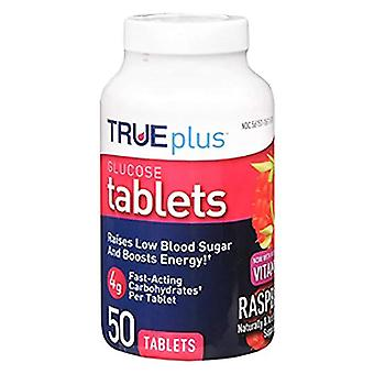 True plus glucose tablets, raspberry, 50 ea