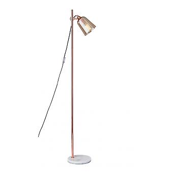"11"" X 9.75"" X 61.75"" Copper Marble/Glass Floor Lamp"