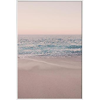 Impression JUNIQE - Rosegold Beach Morning - Oceans, Seas and Lakes Poster in Blue and Pink