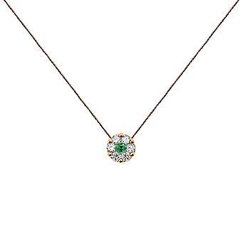 Ketting Duchess Full Diamond op Emerald en 18K Gold, On Thread - Rose Gold, Raspberry