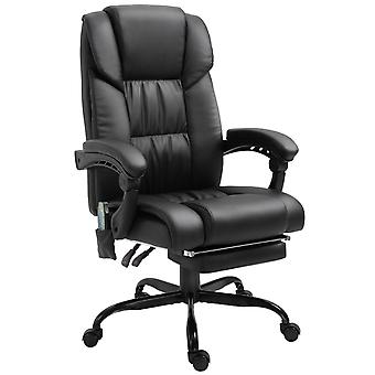 Vinsetto 6-Point PU Leather Massage Racing Chair Electric Padded Height Angle Adjustable 5 Wheels w/ Remote Home Office Comfort Masseuse Relaxation Swivel Ergonomic Black