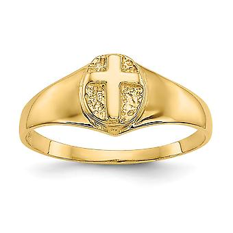 14k Yellow Gold Not engraveable for boys or girls Polished Religious Faith Cross Ring Size 3