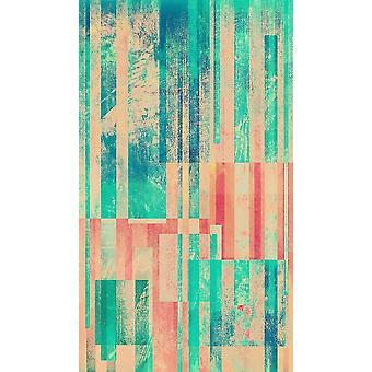 Parquet agua 1 Alfombra impresa multicolor en poliéster, algodón, L60xP100 cm