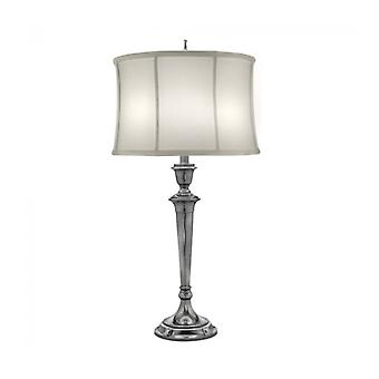 Syracuse Lamp, Antique Nickel With Off-white Shade