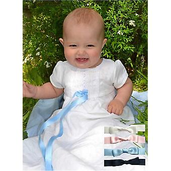 White Christening Gown With Short Sleeve, Free Choice Of Bow, Grace Of Sweden