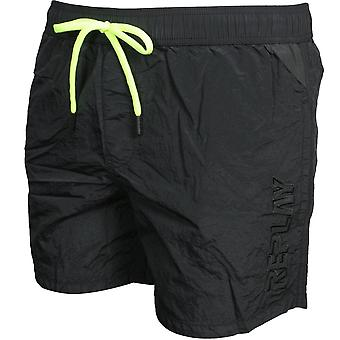 Replay Luxe Side Tonal Logo Swim Shorts, Black