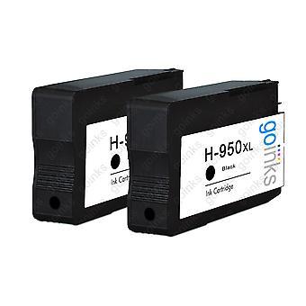 2 sortkompatible HP 950Bk -printerblækpatroner (HP950XL)