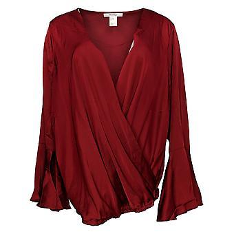 Masseys Women's Plus Top Silky Wrap Top Long Sleeve Dark Red
