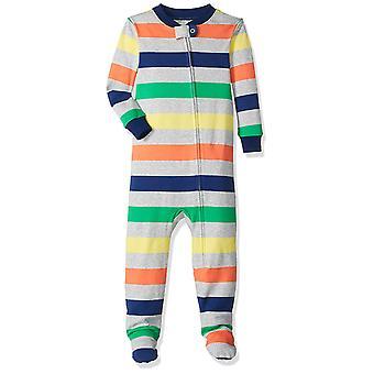 Essentials Baby Boys Zip-Front Footed Sleeper, Multi Stripe White, 12-...