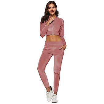 Women's Velvet 2pc Crop Sweatshirt & Pants Tracksuit Sportswear