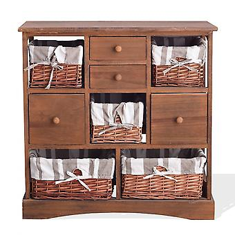 Rebecca Furniture Chest of Drawers Brown Dresser Shabby 4 Gavetas 5 Cestas 69x69x30