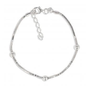 Zilveren Rhodié bal armband 18cm-3cm