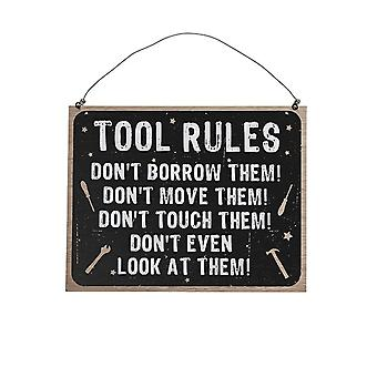 Men's Tools Rules Hanging Wooden Plaque - 23x18cm - Humourous Gift Item