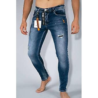 Jeans With Paint Drops - Skinny Fit - Blue