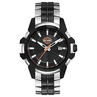 Harley Davidson Mens Spider Web | Two-Tone Steel Bracelet | Black Dial 78B124 Watch