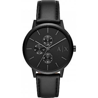 Armani Exchange AX2719 Reloj - Acero Negro Pulsera de cuero negro